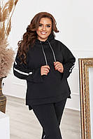 Спортивный костюм женский большого размера с манжетой трехнитка черный