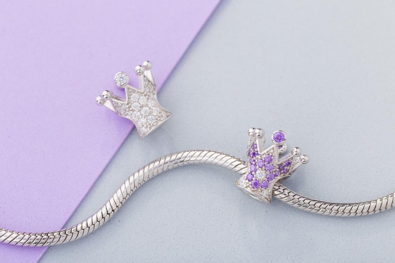 Шарм серебряный с камнями Корона