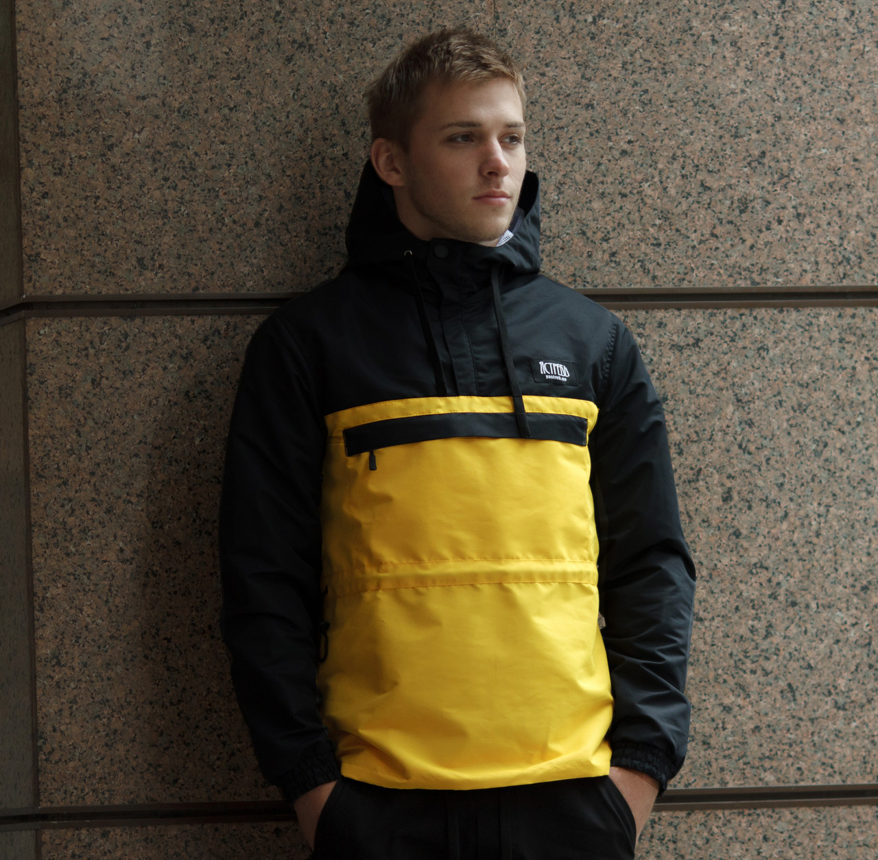 """Молодежный мужской яркий Дельта анорак 2.0 желтый с черным """"Ястребь"""" - размер L"""