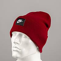 Молодежная шапка Рожки Nike (реплика) Бордо, фото 1