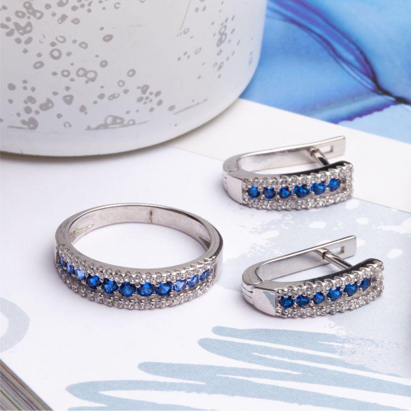 Комплект серебряный разноцветная дорожка кольцо и серьги