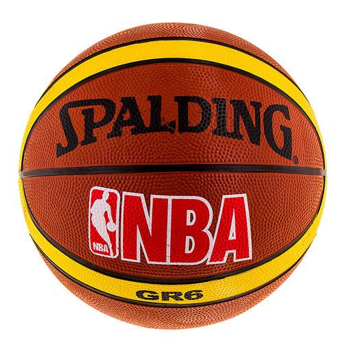 Мяч баскетбольный резиновый Spalding коричневый, размер 6