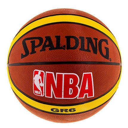 Мяч баскетбольный резиновый Spalding коричневый, размер 6, фото 2