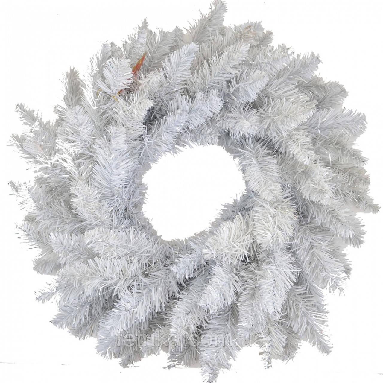 """Новогодний искусственный белый венок """"Альпийский"""", Ø 70 см"""