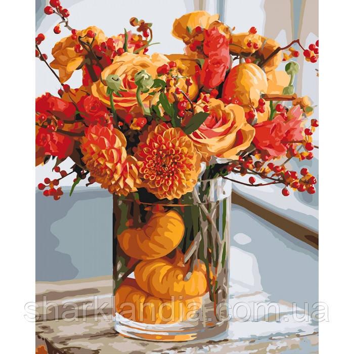 Картина по номерам. Осенняя гармония 40*50см KHO3063  Цветы Букет Розы