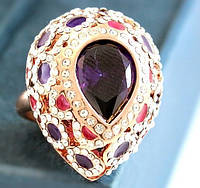 Эксклюзивное  кольцо с  крупным фиолетовым камнем