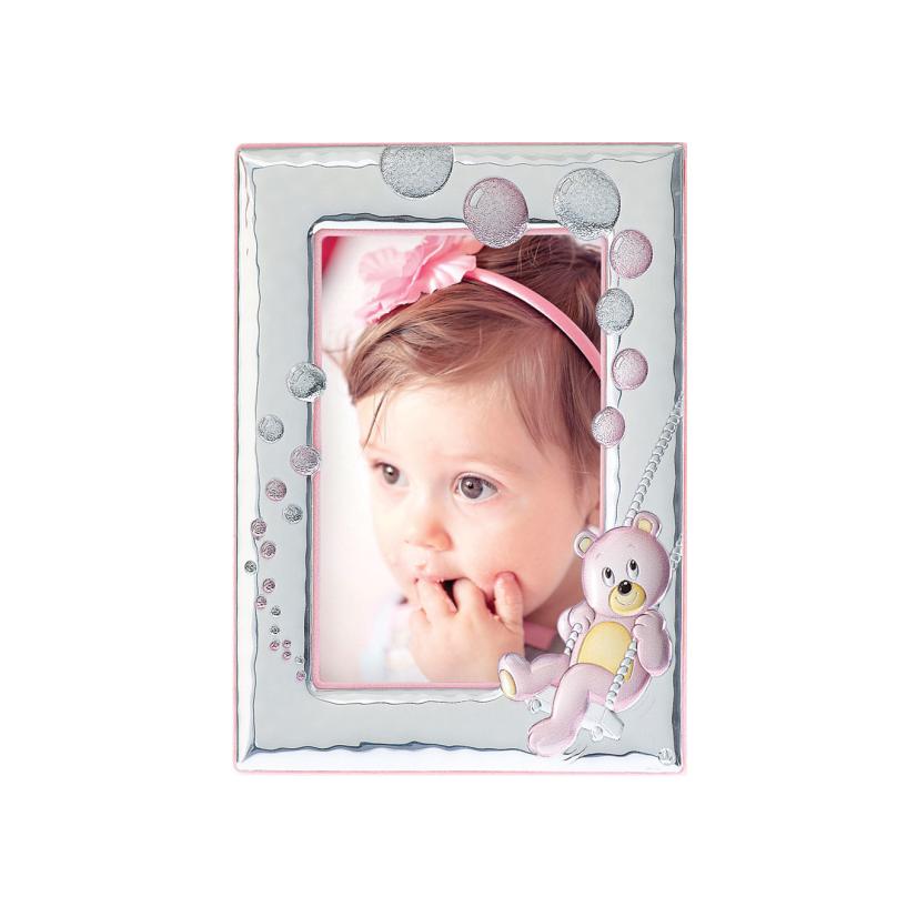Рамка из серебра детская подарочная для девочки Мишка