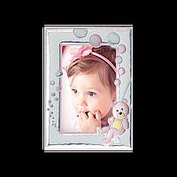 Рамка из серебра детская подарочная для девочки Мишка, фото 1