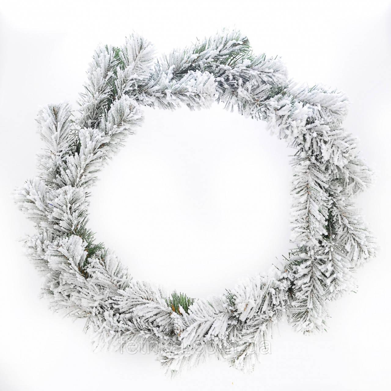 """Новогодний искусственный белый венок """"Сказка"""", Ø 30 см"""