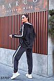 Черный спортивный велюровый костюм штаны + кофта с лампасами р. 48-50, 52-54, фото 2