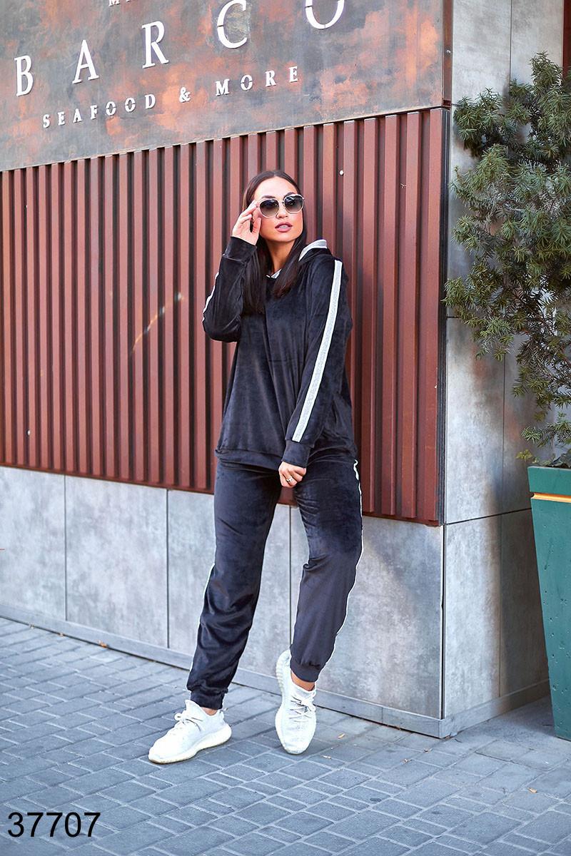 Черный спортивный велюровый костюм штаны + кофта с лампасами р. 48-50, 52-54