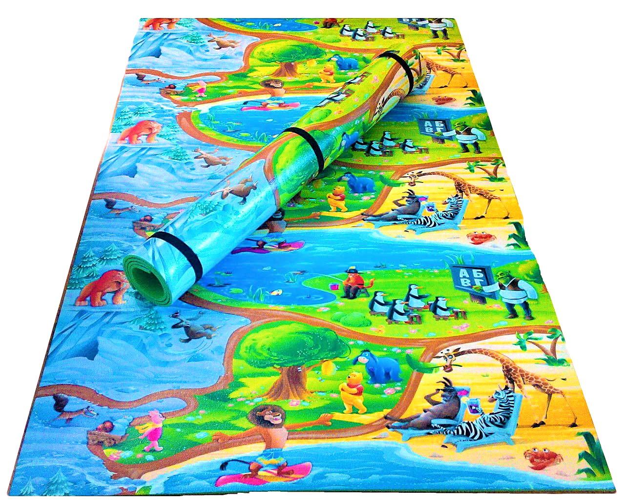 """Детский игровой коврик для ползания ребенка """"Мадагаскар"""" 2000x1200x10мм"""