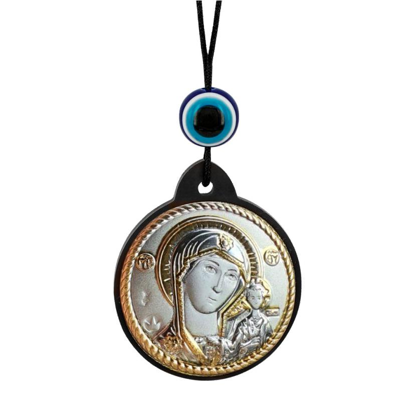 Брелок икона Казанская Богоматерь серебряная с позолотой