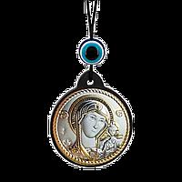 Брелок икона Казанская Богоматерь серебряная с позолотой, фото 1