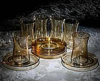"""Сервіз чайний 12 предметний """", рюмки з серії side янтар"""" (6 чашки, 6 блюдець)."""