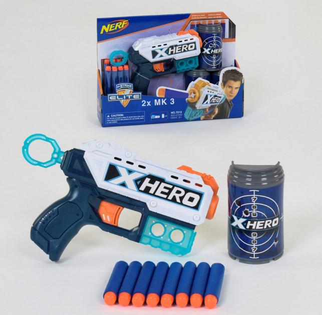 Пистолет бластер NERF 7012 Пистолет нерф с мягкими пулями Синий