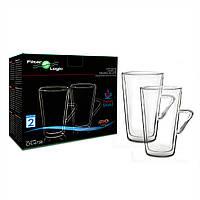 Набор стаканов для латте FilterLogic CFL-675B LATTE (2 шт.) 400 мл. Термочашки для латте с ручкой