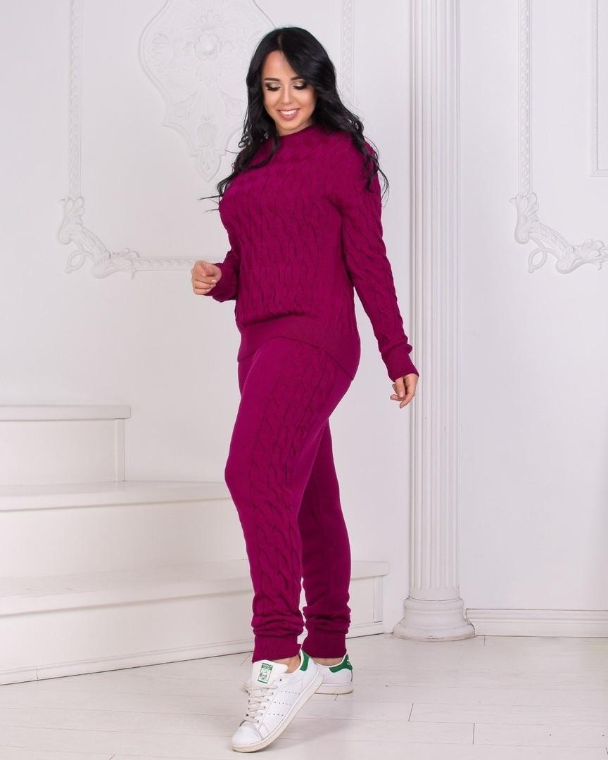 Жіночий в'язаний спортивний костюм, кофта та штани з високою посадкою розмір: 42-46