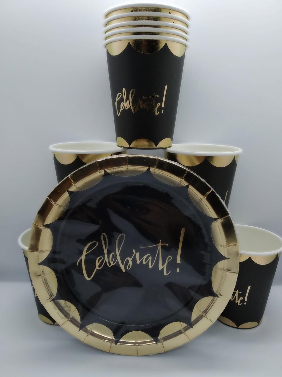 """Набор одноразовой посуды """" Celebrate! Золото черный """"10 тарелок . 10 стаканов"""