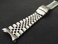 Браслет Jubilee для часов из нержавеющая стали, литой, глянец/мат. Заокругленное окончание. 19 мм, фото 1