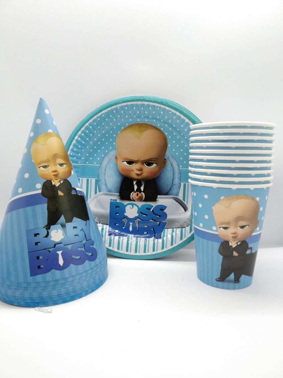 """Набор детской  посуды   """" Босс Молокосос"""" 10 тарелок , 10 стаканчиков , 10 колпачков"""