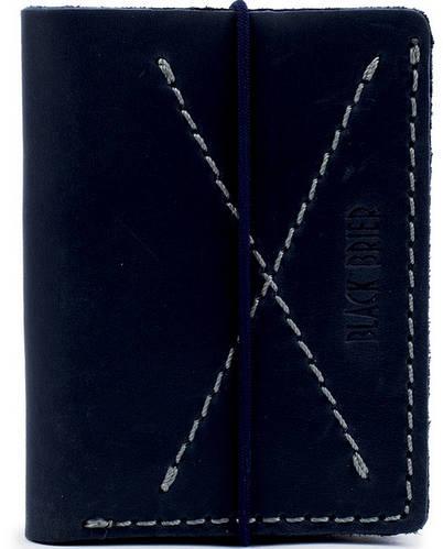 Мужское оригинальное кожаное портмоне на резинке Black Brier П-9-97 темно-синий