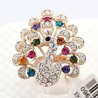 Шикарное кольцо с позолотой - Невероятный  павлин