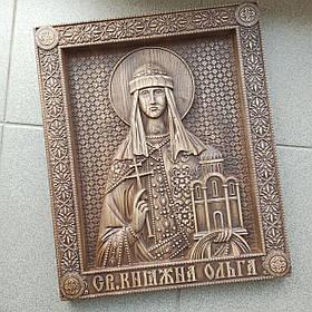 """Икона резная из дерева. """"св. Ольга"""""""
