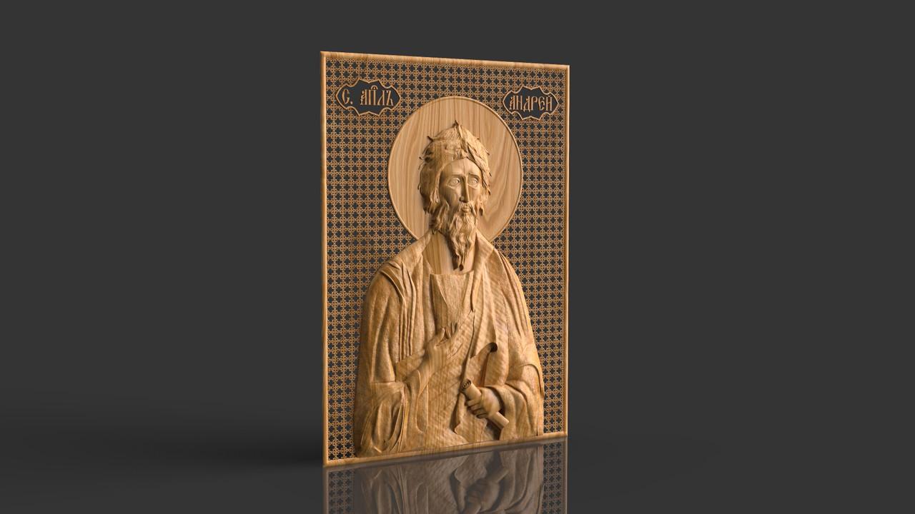 Святой апостол Андрей Первозванный, икона резная из дерева
