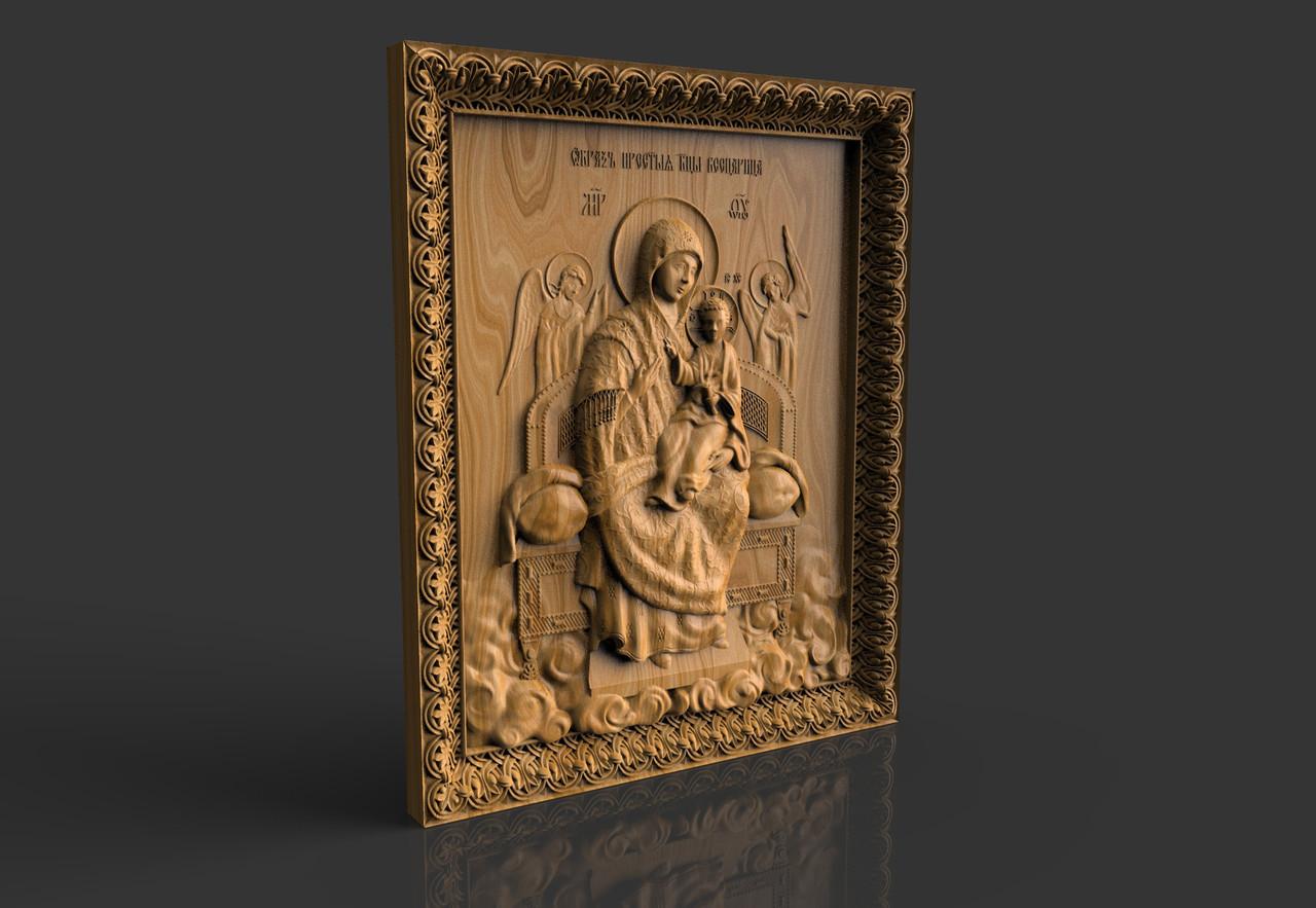 """Исцеляющая Икона Божией Матери """"Всецарица"""", резная из дерева"""