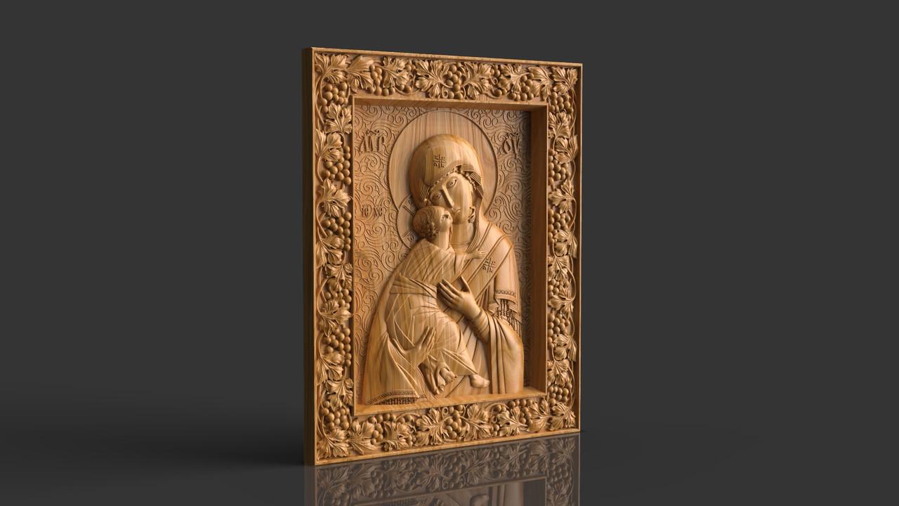 Владимирская икона Божией Матери, резная из дерева.