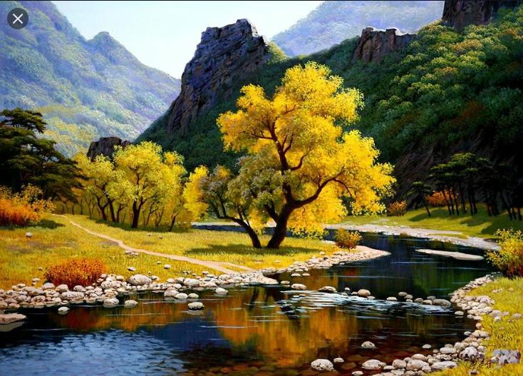Картина за номерами на дереві 40*50см. 3377RAD Річка в горах у подарунковій коробці