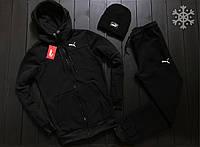 Зимний спортивный костюм мужской Puma (Пума) теплый черный на флисе до - 25*С | трехнитка с начесом