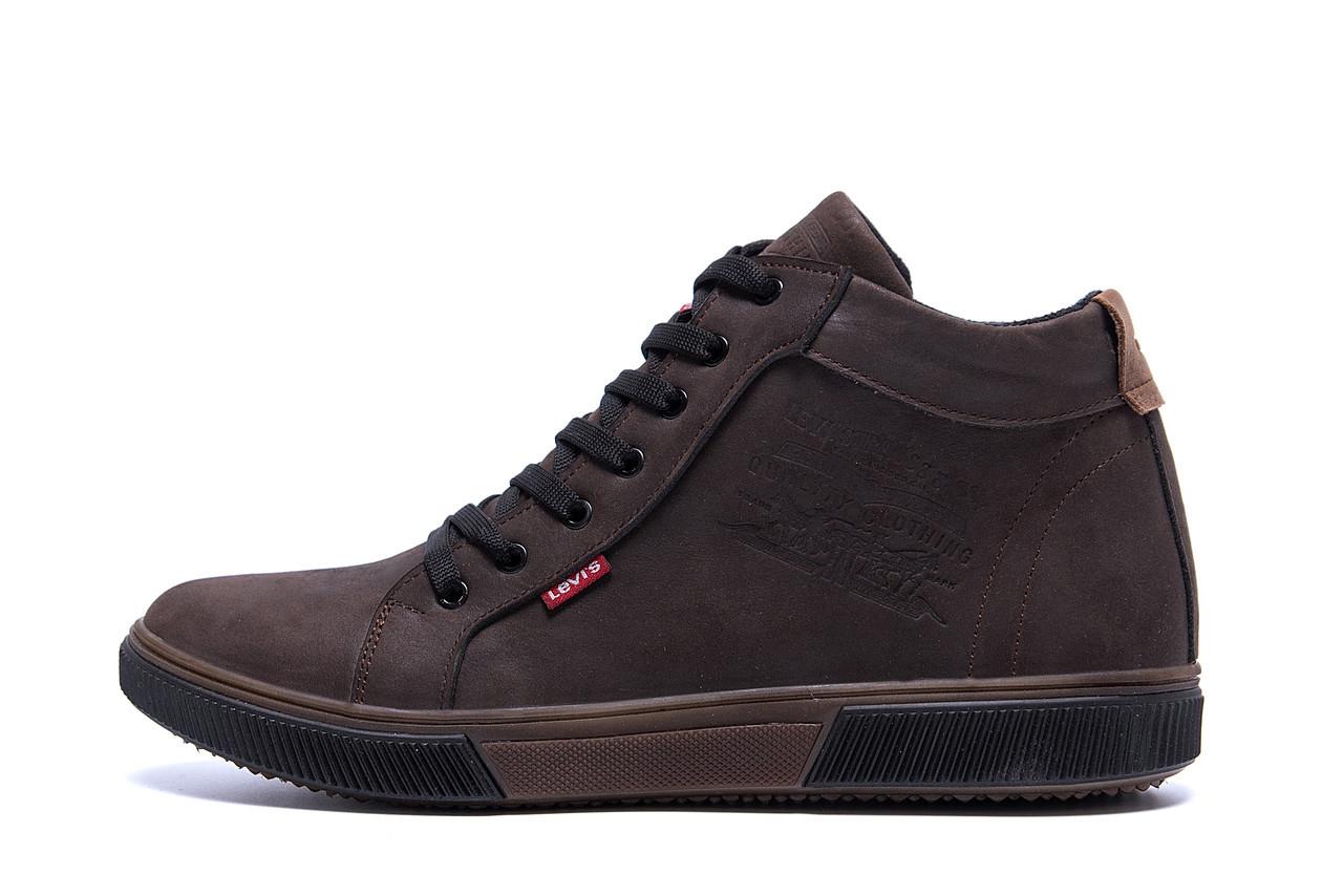 Мужские  зимние кожаные кроссовки  Levis Chocolate Classic р. 45