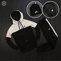 Спортивный костюм зимний мужской Nike трехнитка с начесом теплый черно-серый на флисе до - 25*С | Найк