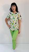 Женский медицинский костюм Принт 44 размера, фото 1