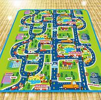 """Детский двухсторнний коврик """"дорога"""", игровой коврик Бебипол 200х180х0,5см."""