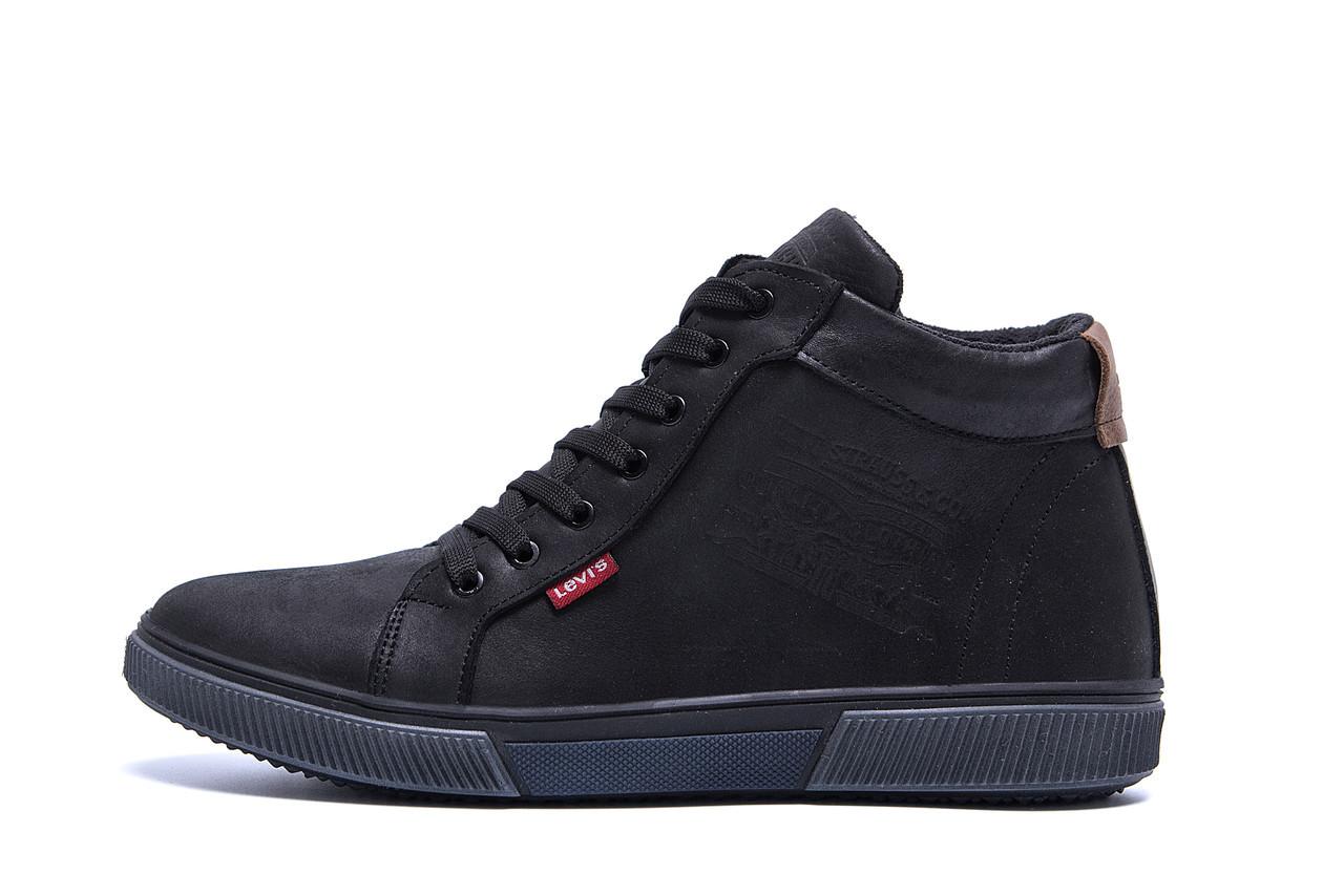 Мужские  зимние кожаные кроссовки  Levis Black Classic р.  45