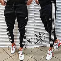 Спортивные штаны зимние мужские Adidas Winter до - 25*С на флисе с лампасами теплые (Адидас) ЛЮКС качества