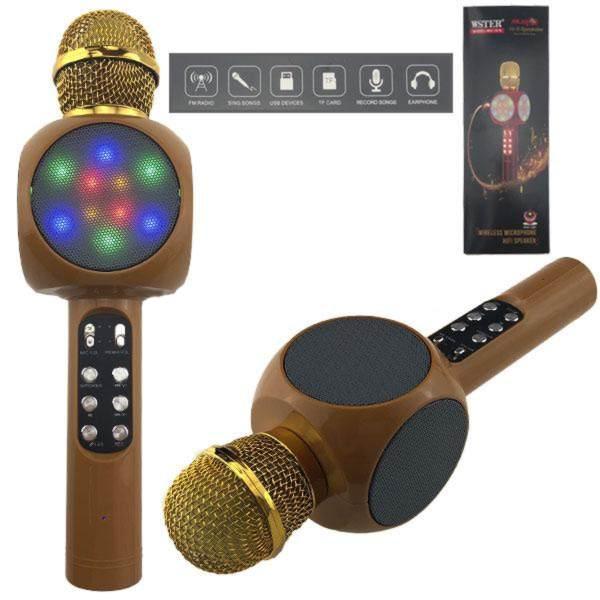 Караоке микрофон со встроенной колонкой светящийся