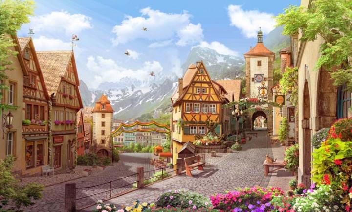 Картина за номерами на дереві 40*50см. 3069RAD Містечко в горах у подарунковій коробці