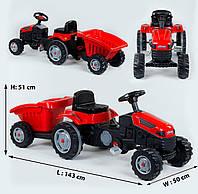 Детский трактор на педалях Pilsan с прицепом (красный цвет)