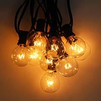 Гирлянда PREMIUM с лампочками G40 7,5 м, 25 л. черный шнур, лампы стекло, белый теплый свет, ГАРАНТИЯ!
