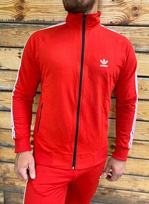 Спортивная кофта на молнии мужская олимпийка Adidas сезон весна/осень красного цвета в стиле Адидас
