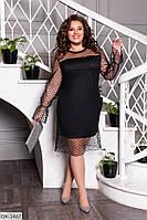 Однотонное нарядное прямое платье с подкладкой и гипюром р: 50-52, 54-56, 58-60 арт 151