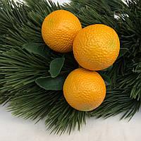 """Новогоднее украшение """"Ветка апельсин тройка """" желтый"""