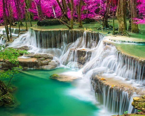 Картина по номерам на дереве 40*50см. 8141RSBD Лесной водопад в подарочной коробке