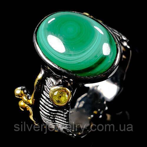 Серебряное кольцо с МАЛАХИТОМ (натуральный), серебро 925 пр. Размер 18,25