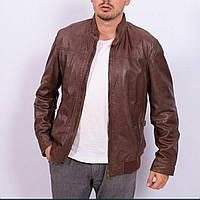 Мужская стильная кожаная куртка коричневая Massimo Dutti Испания