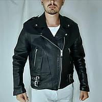 Мужская кожаная косуха куртка мото байкерская черная